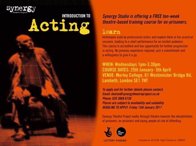 Free ten-week acting course for ex-prisoners
