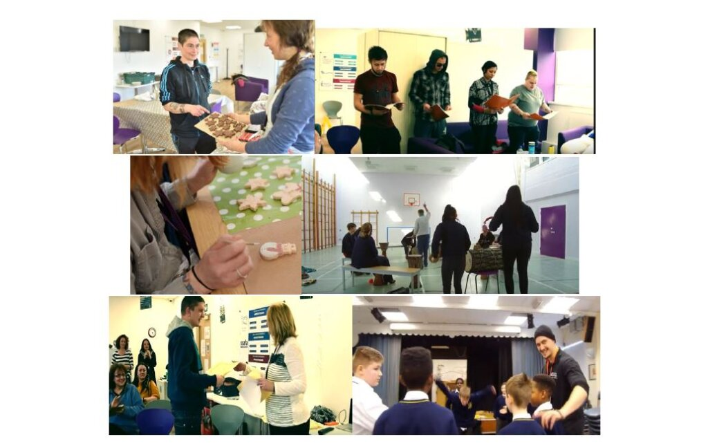 A collage of images showing young people taking part in arts activities